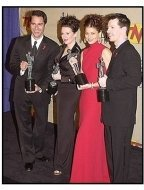 """The cast members of """"Will & Grace"""" backstage at the SAG Screen Actors Guild Awards 2001"""