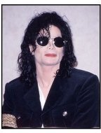 Michael Jackson at a press conference in 1998