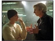 8 Mile movie still: Eminem and director Curtis Hanson on the set of 8 Mile