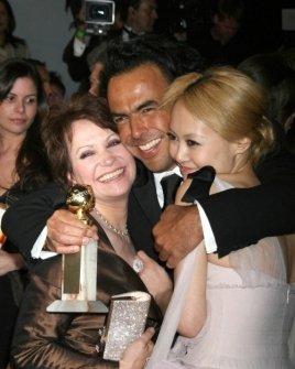 Adriana Barraza with Alejandro Gonzalez Inarritu and Rinko Kikuchi