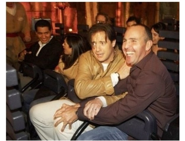 Arnold Vosloo and Brendan Fraiser at the opening of the Revenge of the Mummy the Ride grand opening