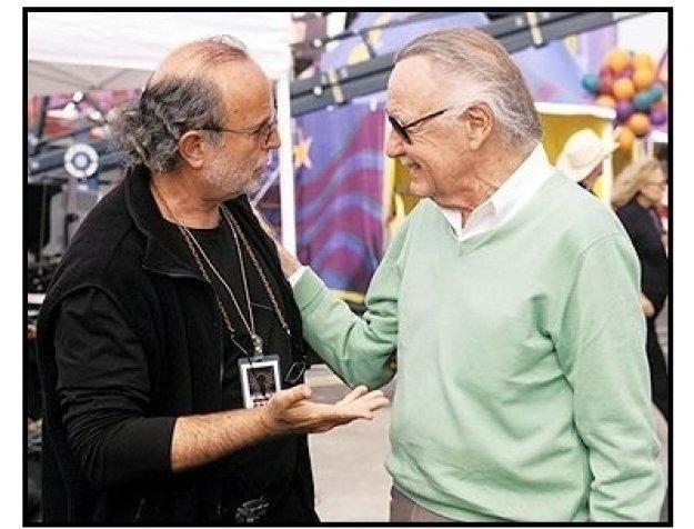 Spider-Man movie still: Executive Producer Avi Arad and Spider-Man creator Stan Lee on the set of Spider-Man