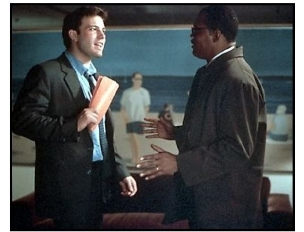 Changing Lanes movie still: Ben Affleck as Gavin Banek and Samuel L. Jackson as Doyle Gipson