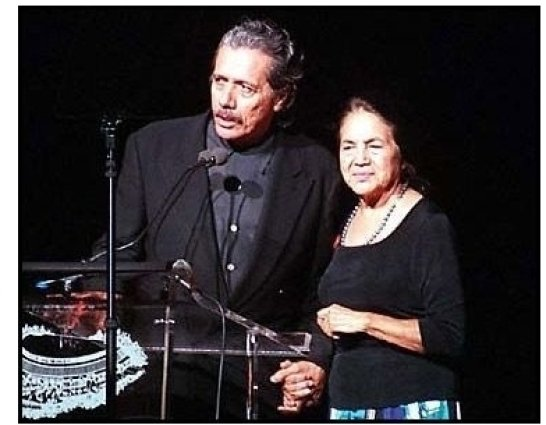 Edward James Olmos and Dolores Huerta at the 2000 Democratic Hispanic Talent Showcase